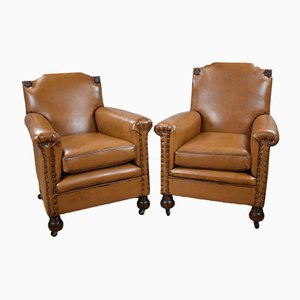 Antique Victorian Tan Leather Armchairs, Set of 2