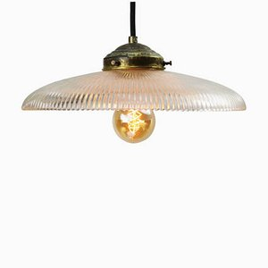 Vintage Industrial American Holophane Glass Pendant Lamp, 1950s