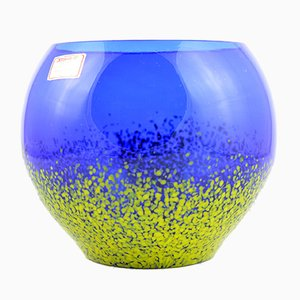German Cobalt Blue and Yellow Speckled Glass Bowl from Joska Kristall, 1960s