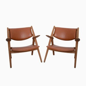 CH-28 Sawbuck Armchairs by Hans J. Wegner for Carl Hansen & Søn, 1950s, Set of 2