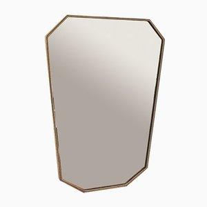 Mid-Century Italian Brass Wall Mirror, 1950s