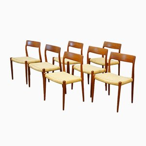 Danish Model 75 Dining Chairs, 1960s, Set of 7