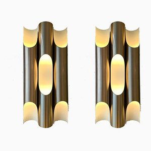 Gilt Metal Sconces by Maija Liisa Komulainen for Raak, 1970s, Set of 2