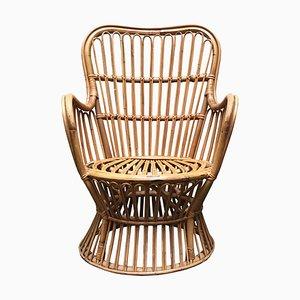 Mid-Century Armlehnstuhl aus Bambus, 1960er