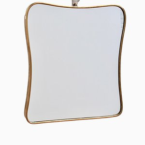 Small Mid-Century Italian Brass Wall Mirror, 1950s