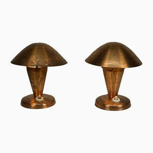 Czechoslovakian Brass Table Lamps, 1930s, Set of 2