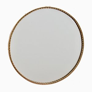 Small Mid-Century Italian Brass Wall Mirror, 1950s