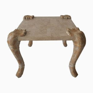 Vintage American Marble and Cane Coffee Table