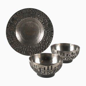 Norwegian Brutalist Steel Plate and Bowls Set by Olav Joa for Polaris, 1970s, Set of x