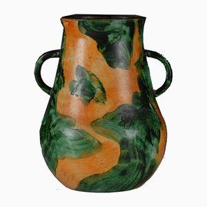 Schwedische Art Déco Vase mit grüner & orangefarbener Glasur von Nittsjo, 1920er