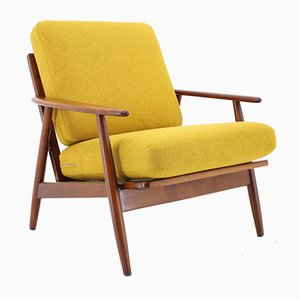 Danish Teak and Yellow Upholstery Armchair, 1960s