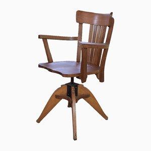 Mid-Century Oak Captains Swivel Chair