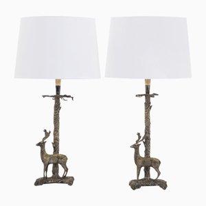 Versilberte spanische Mid-Century Tischlampen, 1960er, 2er Set