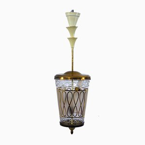 Italian Glass and Brass Ceiling Lamp, 1940s