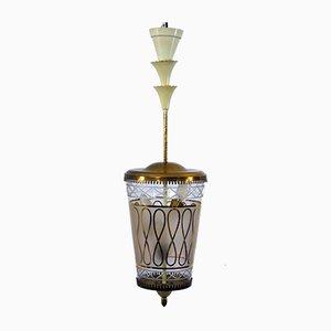 Italienische Deckenlampe aus Glas & Messing, 1940er