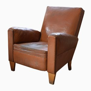 Vintage French Brown Leather Armchair