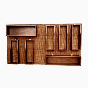 Mueble bar Mid-Century de palisandro, latón y ratán, años 60