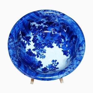 Cuenco Indigo japonés era Meiji antiguo de cerámica