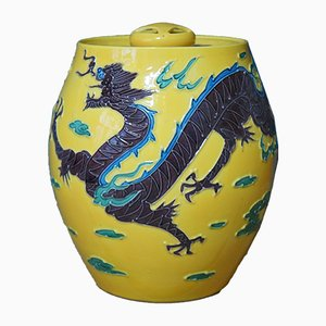 Japanese Yellow Porcelain Dragon Vase, 1960s