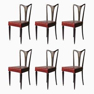 Esszimmerstühle mit rotem Ledersitz, 1940er, 6er Set