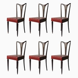 Red Leather Dining Chairs, 1940s, Set of 6