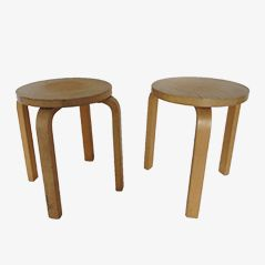 60 Hocker von Alvar Aalto für Artek, 2er Set