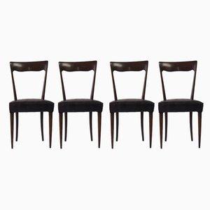 Esszimmerstühle mit Sitz aus Schlangenleder & Gestell aus Mahagoni, 1960er, 4er Set