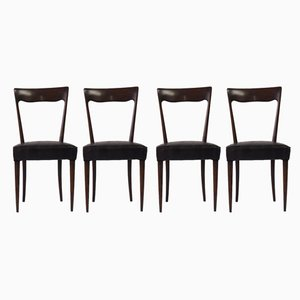 Mahogany and Snake Skin Leather Dining Chairs, 1960s, Set of 4
