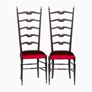 Chiavari Stühle mit Samtsitz von Alessandro Bini, 1950er, 2er Set