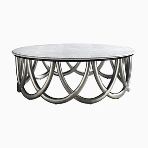 Round Coffee Table with Wood Finish and Marble Color from CA Spanish Handicraft