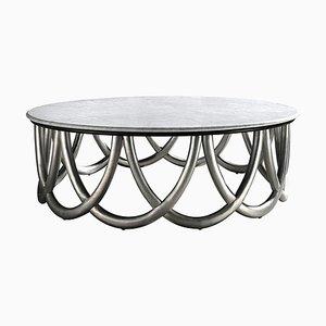Tavolino da caffè rotondo con finiture in legno e marmo di CA Spanish Handicraft