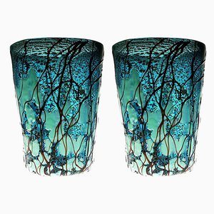Aquamarine Murano Glass Tumblers by Fabiano Amadi, 1990s, Set of 2