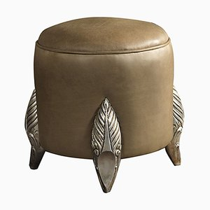 Camel Coloured Aged Wood Pouf from CA Spanish Handicraft