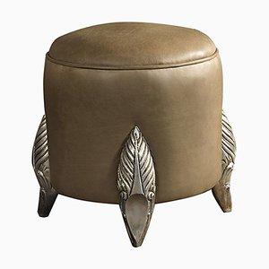 Pouf en Bois et Tissu Camel de CA Spanish Handicraft