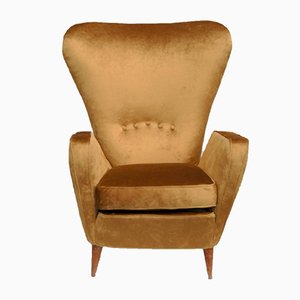 Gold Velvet Armchair by Emilia Sala and Giorgio Madini for La Permanente Mobili Cantù, 1950s