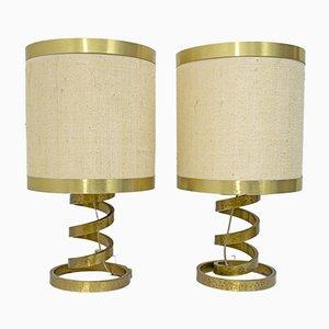 Tischlampen aus Messing mit Spiralfuß von Luciano Frigerio für Frigerio di Desio, 1974, 2er Set