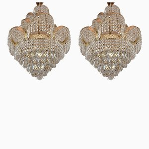Hollywood Regency Crystal Sconces, 1980s, Set of 2