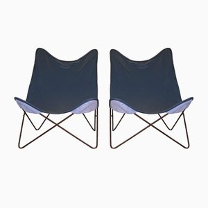 Mid-Century Tripoline Iron and Blue Leather Lounge Chairs, Set of 2