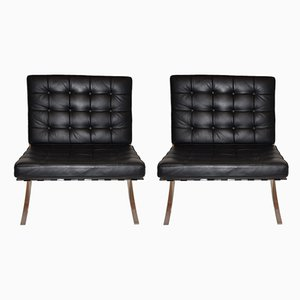 Black Leather Lounge Chairs, 1980s, Set of 2