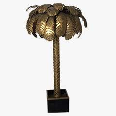 Brass Palm Floor Lamp by Maison Jansen, 1970s