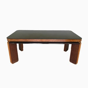 Vintage Rosewood and Black Glass Dining Table
