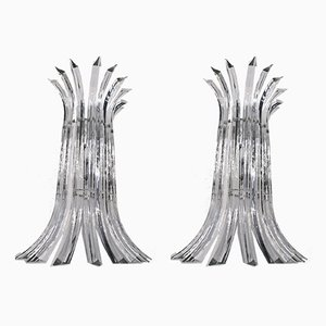 Triedri Wandlampen aus klarem Muranoglas, 1980er, 2er Set