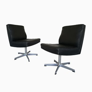 Mid-Century Black Leather Desk Chairs, Set of 2