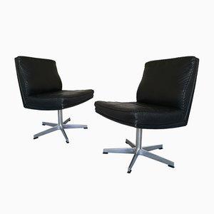 Mid-Century Schreibtischstühle mit schwarzem Lederbezug, 2er Set