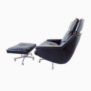 Black Leather Lounge Chair and Ottoman Set by Werner Langenfeld for ESA, 1960s