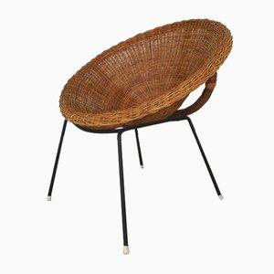 Mid-Century Sessel aus Korbgeflecht & Eisen