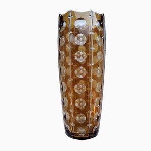 Vintage Amber Crystal Vase
