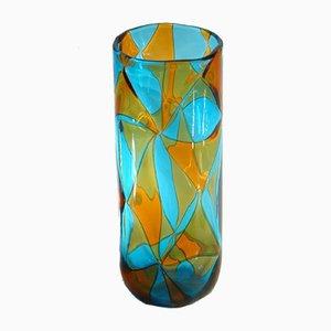 Aquamarinblaue Vase mit bernsteinfarbenen Details von Ercole Barovier für Barovier & Toso, 1970er