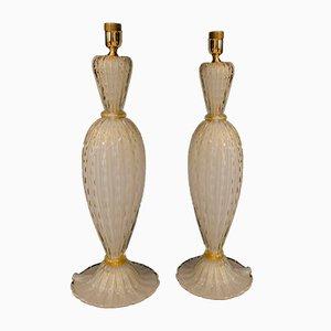 Tischlampen aus weißem Glas & Blattgold von Alberto Donà, 1990er, 2er Set