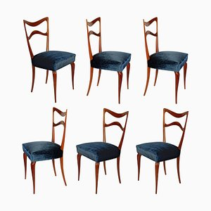 Mahogany and Leather Dining Chairs, 1940s, Set of 6